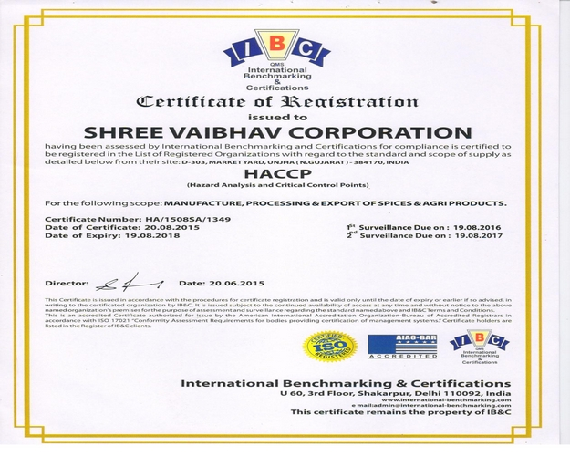 ISO 22000:2005, HACCP, US FDA, SPICES BOARD OF INDIA, ICRA CERTIFIED ...