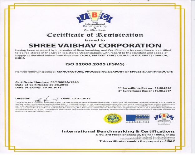 ISO CERTIFIED INDIAN SPICES PRODUCTION FACILITY